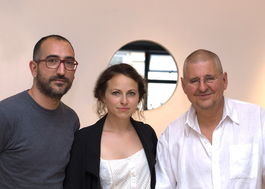 Left to Right: Festival Director, Angel Luis Gonzalez Fernandez; Christiane Peschek, winner of Portfolio 14, and Leszek Wolnik from The Copper House Gallery