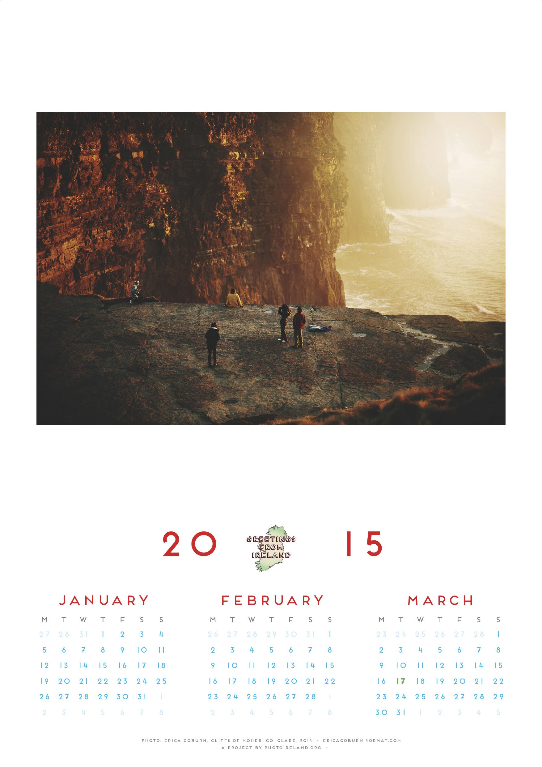 2015 Calendar Greetings From Ireland