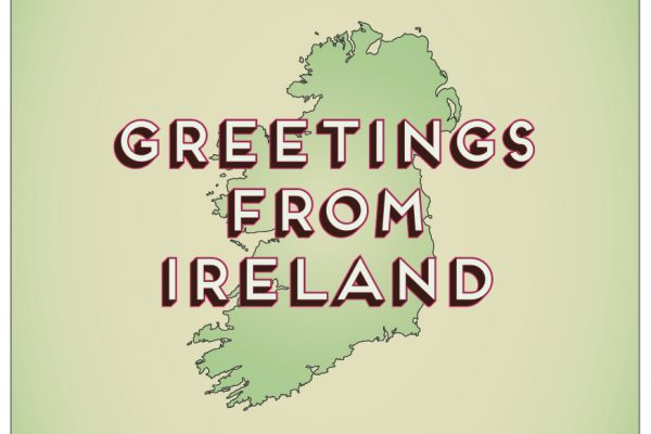 The cover of the Greetings From Ireland postcard set.