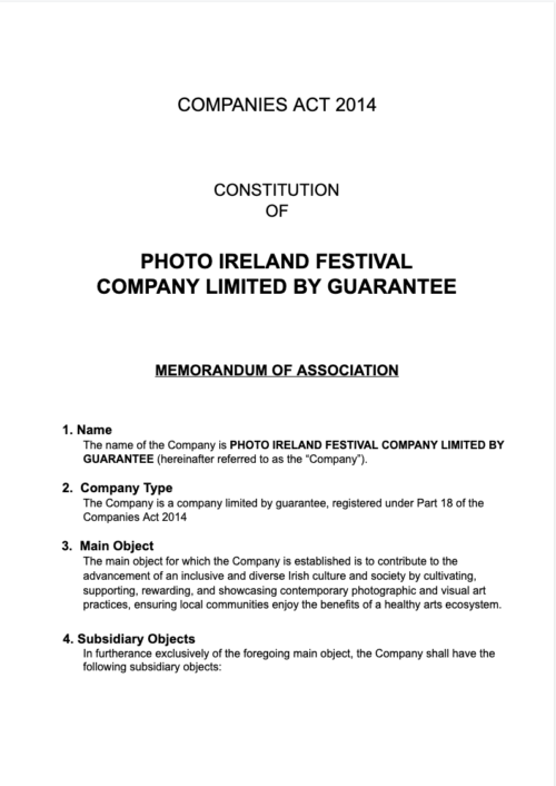 PhotoIreland Articles of Association